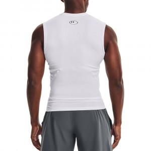 UA HeatGearTM Compression Sleeveless Shirt ''White''