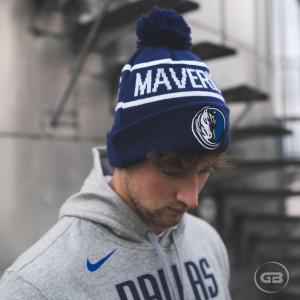 New Era NBA Dallas Mavericks Bobble Knit Cuff Hat ''Blue''