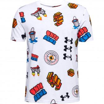 Otroška kratka majica UA Hoops Sticker ''White''