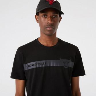 New Era NBA Chicago Bulls Team Logo Stripe T-Shirt ''Black''