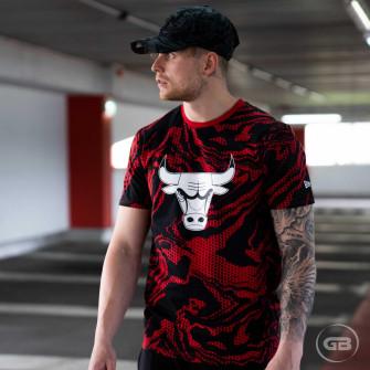 New Era Oil Slick Print Chicago Bulls T-Shirt ''Red''